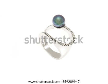 Ring with pearl isolation on white