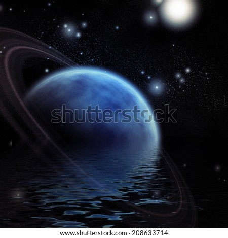Ringed Planet and reflection in water - stock photo