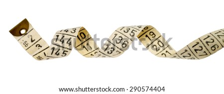 ringed tape measure over white background / tape measure  - stock photo