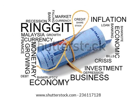 Ringgit Malaysia tied. Conceptual  - stock photo