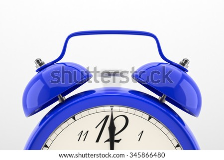 Ringing alarm clock. Blue table shelf vintage clock on white background. Deadline, wake up, time is up, act fast, sale reminder, hot prices concept. - stock photo