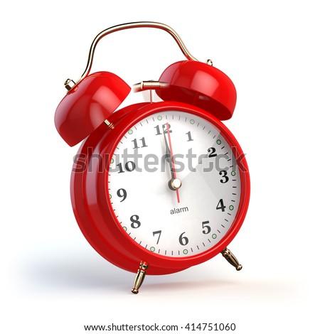 Ringing alarm clock isolated on white. Wake up concept. 3d illustration - stock photo