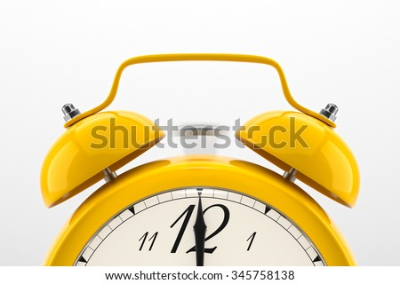 Ringing alarm clock. Yellow table shelf vintage clock on white background. Deadline, wake up, time is up, act fast, sale reminder, hot prices concept. - stock photo