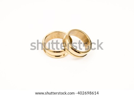 rings of gold with white background