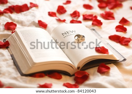 Rings On The Bible; Wedding Rings On The New Testament Bible Surrounded By Rose Petals - stock photo