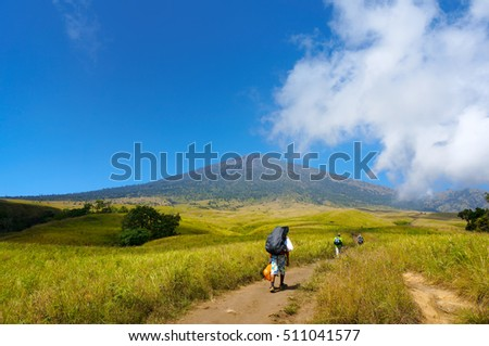 rinjani mount hiker walking at savannah field