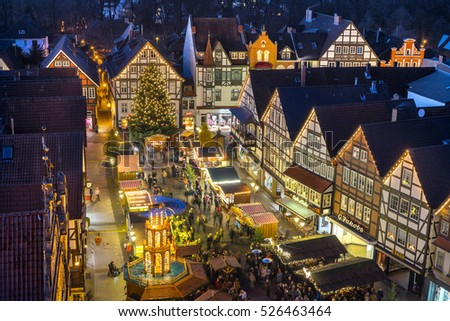 Rinteln, Germany - November 27, 2016: Traditional christmas market in the historic center of Rinteln, Lower Saxony, Germany
