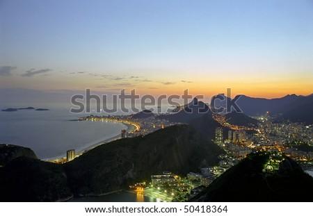 Rio and the Copacabana at Sunset - stock photo
