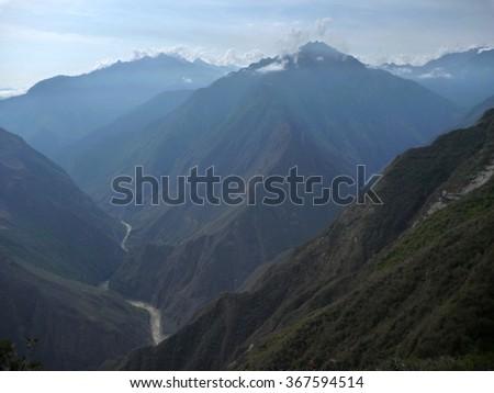 rio apurimac in deep valley in choquequirao trekking in peru - stock photo