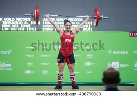 Rio, Brazil - April 4, 2016: MCCOY VANESSA GAYLE (USA) in the female category during the Aquece Rio Weightlifting Test Event at the Arena Carioca 1 - stock photo