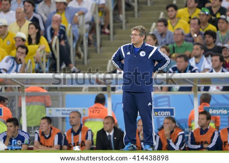 RIO, BRAZIL - June 15, 2014: Coach Safet SUSIC (BIH) during the 2014 World Cup. Argentina is facing Bosnia in the Group F at Maracana Stadium - stock photo