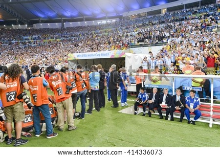 RIO, BRAZIL - June 15, 2014: he 2014 World Cup. Argentina is facing Bosnia in the Group F at Maracana Stadium