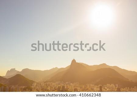 Rio de Janeiro aerial view at sunny day, Brazil - stock photo