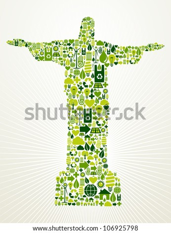 Rio de Janeiro and Brazil go green. Eco friendly icon set in Christ the Redeemer statue shape. - stock photo