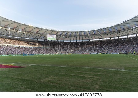 Rio de Janeiro, Brasil - may 08, 2016: venue view player in match between Botafogo and Vasco by the second match final of Carioca championship in Maracana Stadium - stock photo