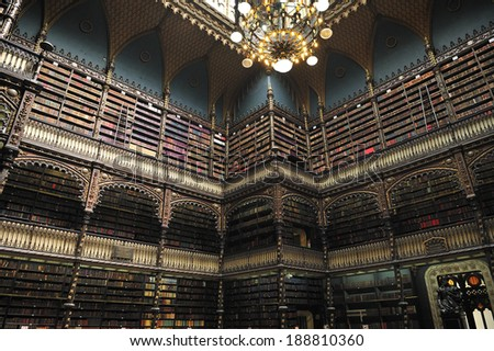 Rio de Janeiro, Brazil-April 5, 2010: Royal Portuguese Reading Room - has the largest and most valuable literary of Portuguese outside Portugal. built between 1880 and 1887 - stock photo