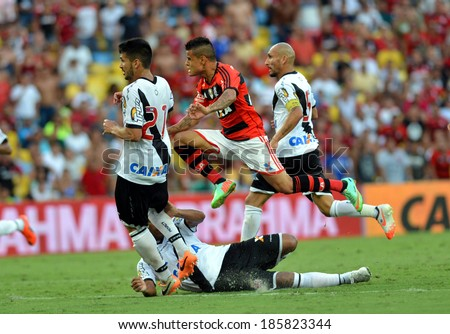 RIO DE JANEIRO, BRAZIL - April 6, 2014: Soccer match between Vasco and Flamengo at Maracana during the Carioca Championship.