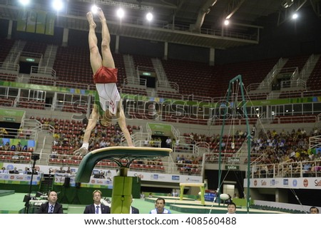 Rio de Janeiro-Brazil, April 17, 2016 test preparation for the Olympic Games 2016- Gymnastics