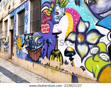 RIO DE JANEIRO, BRAZIL - August 31, 2014: art on the walls of the city - popular expression