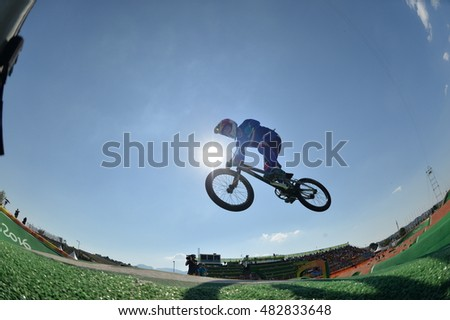 Rio de Janeiro-Brazil, August 11, 2016- BMX cycling competition during the 2016 Olympic Games