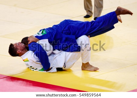 Rio de Janeiro, Brazil. August 11, 2016. JUDO - MEN -100 KG ELIMINATION ROUND OF 32 match between KRPALEK Lukas (CZE) and FONSECA Jorge (POR) at the 2016 Summer Olympic Games in Rio De Janeiro.