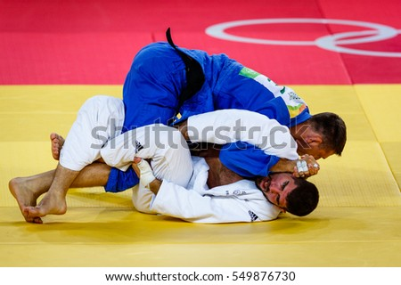 Rio de Janeiro, Brazil. August 11, 2016. JUDO - MEN -100 KG SEMIFINAL OF TABLE B match between LMARET Cyrille (FRA) and KRPALEK Lukas (CZE) at the 2016 Summer Olympic Games in Rio De Janeiro.