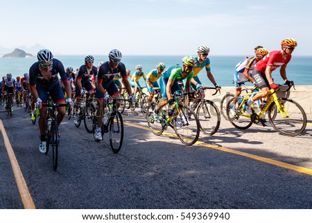 Rio de Janeiro, Brazil. August 6, 2016. Men cycling competition during the first day of 2016 Summer Olympic Games in Rio De Janeiro.