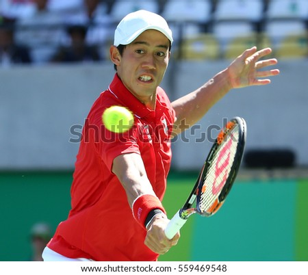 RIO DE JANEIRO, BRAZIL - AUGUST 13, 2016:Professional tennis player Kei Nishikori of Japan in action during his men's singles semifinal match of the Rio 2016 Olympic Games at the Olympic Tennis Centre