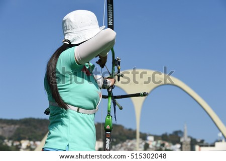 Rio de Janeiro, Brazil - august 05, 2016: San Yu HTWE (MYA) during the Archery Rio Olympics 2016 held at the Sambadrome in the qualifying Round.