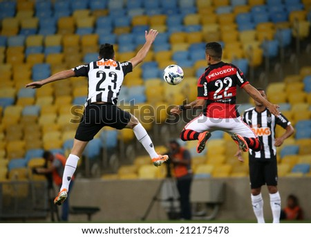 RIO DE JANEIRO, BRAZIL - August  20 , 2014: Soccer match between flamengo and atletico mineiro   at Maracana during the national  Championship.