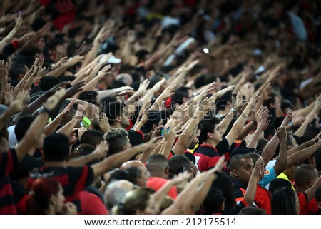 RIO DE JANEIRO, BRAZIL - August  20 , 2014: Soccer match between flamengo and atletico mineiro   at Maracana during the national  Championship. - stock photo