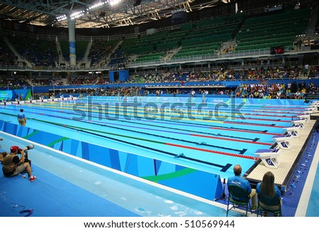 RIO DE JANEIRO, BRAZIL   AUGUST 8, 2016: The Olympic Aquatics Center In