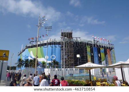 Rio de Janeiro, Brazil - August 04, 2016: View of the the Olympic beach volleyball arena in Copacabana beach with Brazilians and tourists nearby.
