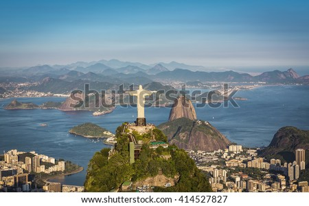 RIO DE JANEIRO, BRAZIL - CIRCA FEBRUARY 2016: Aerial view of Christ The Reedemer and Botafogo Bay from high angle.