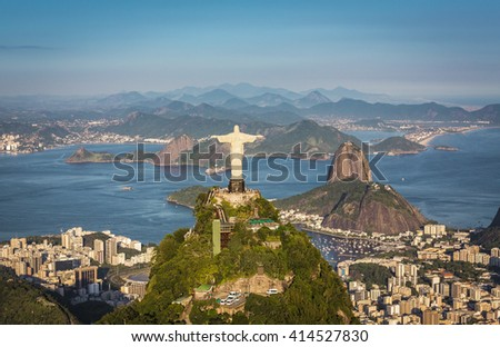 RIO DE JANEIRO, BRAZIL - CIRCA FEBRUARY 2016: Aerial view of Christ The Reedemer and Sugar Loaf Mountain from high angle. - stock photo
