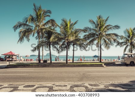 RIO DE JANEIRO, BRAZIL - CIRCA JANUARY  2016: People enjoying the sun on famous Ipanema Beach in Rio de Janeiro. Rio will host 2016 Summer Olympic Games.