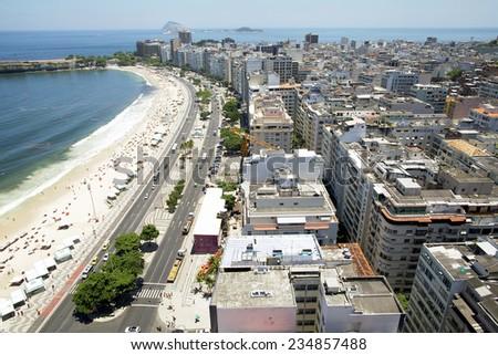 Rio de Janeiro, Brazil - Copacabana Beach panorama - stock photo