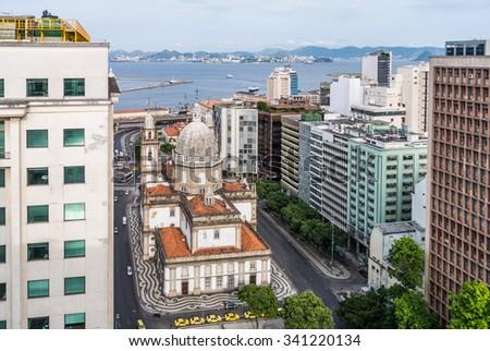 RIO DE JANEIRO, BRAZIL - DECEMBER 22, 2012: Aerial view of Candelaria Church in Rio de Janeiro, Brazil. - stock photo