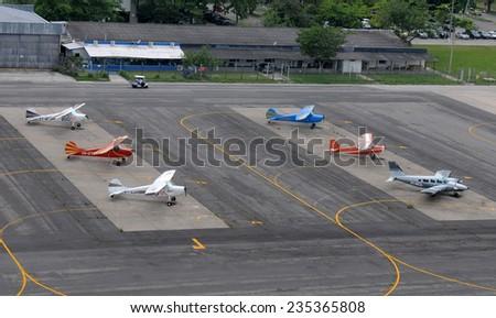 Rio de Janeiro-Brazil, December 4, 2014, aircraft in the Jacarepagua airport - stock photo