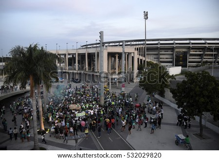 Rio de Janeiro- Brazil December 7, 2016- Brazil's club fans show affection for the Chapecoense club in front of the Maracanã stadium.