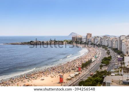 RIO DE JANEIRO, BRAZIL, DECEMBER 27, 2015 - Copacabana Beach panorama from high angle in Rio de Janeiro,Brazil - stock photo