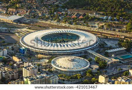 RIO DE JANEIRO, BRAZIL - FEBRUARY  2016: Aerial photo of Maracana Stadium in  Rio De Janeiro. Opening and closing of 2016 Olympic Games will be held at Maracana Stadium.