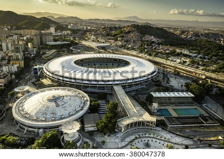 RIO DE JANEIRO, BRAZIL - FEBRUARY  2016: Aerial photo of Maracana Stadium with panorama of Rio De Janeiro. Opening and closing of 2016 Olympic Games will be held at Maracana Stadium. - stock photo