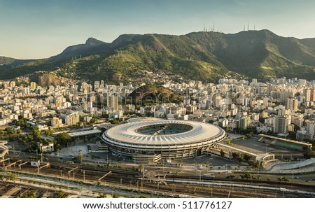 RIO DE JANEIRO, BRAZIL - FEBRUARY  2016: Aerial view of Maracana Stadium with panorama of Rio De Janeiro. Opening and closing of 2016 Olympic Games was held at Maracana Stadium