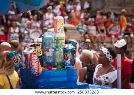 RIO DE JANEIRO, BRAZIL - FEBRUARY 14, 2015: Alcohol and other drinks for sale in the street during Carnival. During big events, street sellers make thousands of dollars within few days. - stock photo
