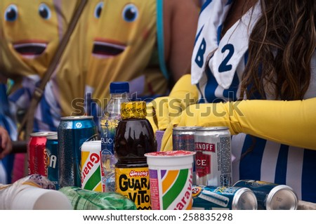 RIO DE JANEIRO, BRAZIL - FEBRUARY 16, 2015: Alcohol and other drinks for sale in the street during Carnival. During big events street sellers make thousands of dollars within few days. - stock photo