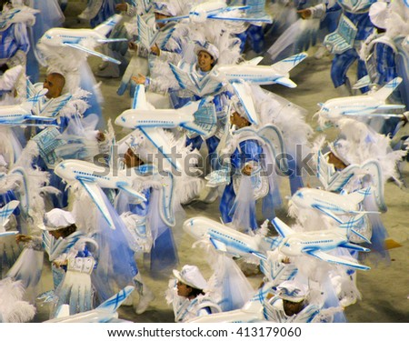 Rio de Janeiro, Brazil - February 23: amazing extravaganza during the annual Carnival in Rio de Janeiro on February 23, 2009 - stock photo