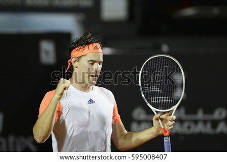 Rio de Janeiro, Brazil - february 26, 2017: Dominic THIEM (AUT) in match against Pablo CARRENO BUSTA (ESP) for the final of the tournament during Rio Open 2017 held at the Jockey Club Brasileiro.