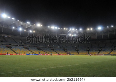 RIO DE JANEIRO, BRAZIL - FEBRUARY 11, 2015:  Football match  between Flamengo and Cabofriense, during the Carioca Football Championship.