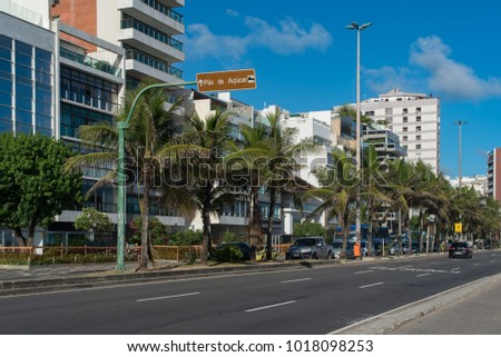 Rio de Janeiro, Brazil - February 1, 2018: Residential Buildings in front of the Vieira Souto avenue in Ipanema Beach.